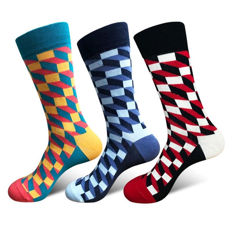 1 Pair New Autumn Winter Mens Novelty Socks Art Classic Colorful Grid Socks for Men Hip Hop Socks Men Chaussette Homme