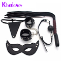 New Adult Game 5 Pcs/Set Kit Fetish Sex Bondage Restraint Handcuff Mask Ball Gag Whip Pretty Love Underwear faux leather Sex Toy