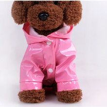 1 Pcs Pet Rain Coat Outdoor Solid Hooded PU leather Raincoats Waterproof Puppy Dog Clothing Fashion Dogs Supplies