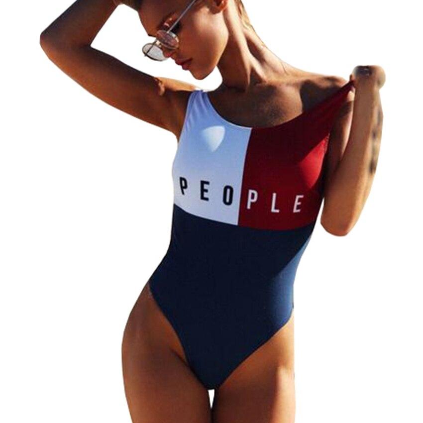 2018 nueva patchwork Tanga una pieza traje de baño sexy Halter fundido traje de baño mujeres brasileño bañista monokini beachwear