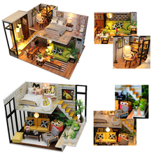 Hot Doll Houses Casa Miniature DIY Dollhouse With Furnitures Assembled Wooden House Model Christmas Gift Toys For Children #E
