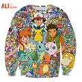 Alisister New Fashion Anime Pokemon Sweatshirt For Men/women's 3d Hoodies Pullover Cartoon Long-sleeved Shirt Pikachu Clothing