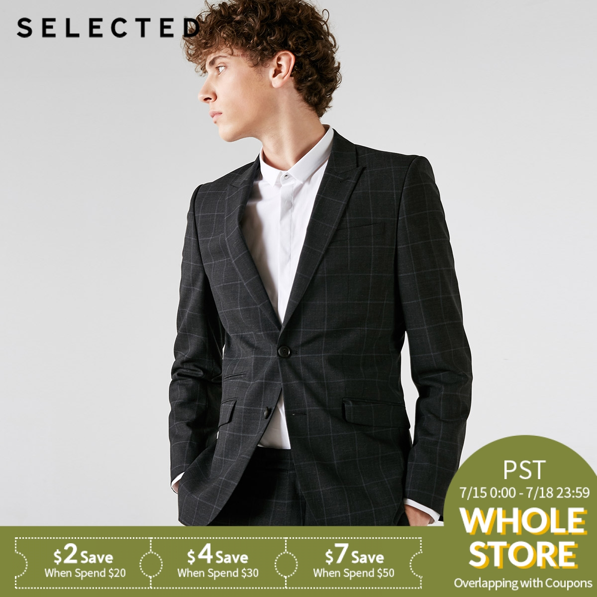 SELECTED Blackrock's New Men Containing Plaid Business Suit Blazer Bussiness Clothes T   41835Y501