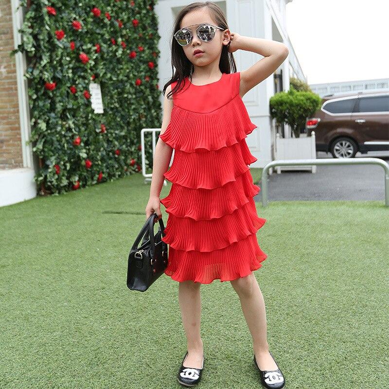 d28419c1859 Big Girls Ruffles Layered Dress Little Teenage Kids Girl Summer Dress 2018 White  Red Cake Long