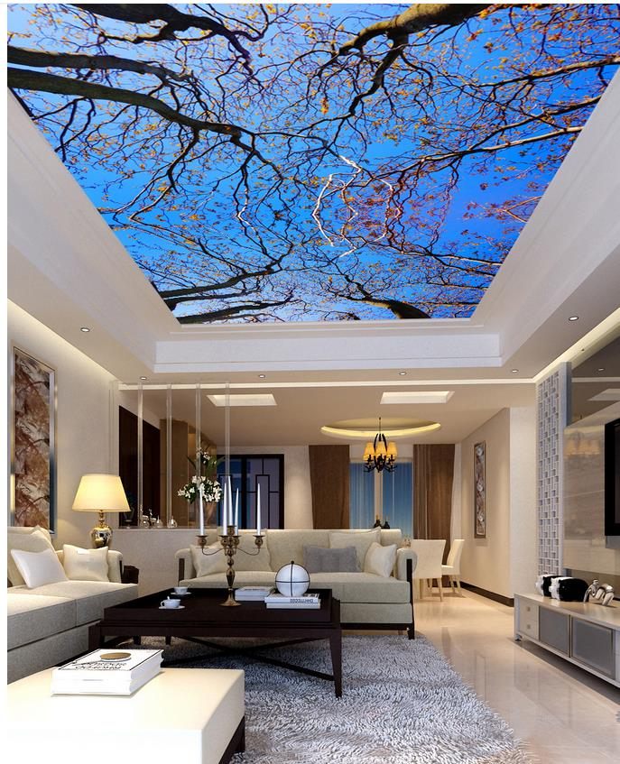 3d wallpaper mural blue sky tree wallpapers for living for Wallpaper home renovation