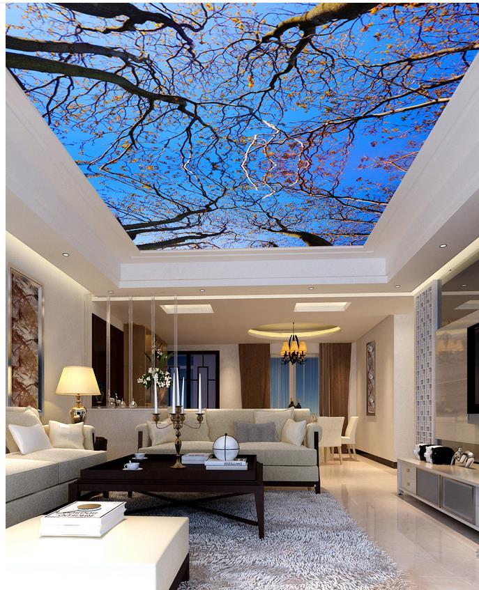 ceiling designs for living room decorate narrow rectangular 3d wallpaper mural blue sky tree wallpapers ...