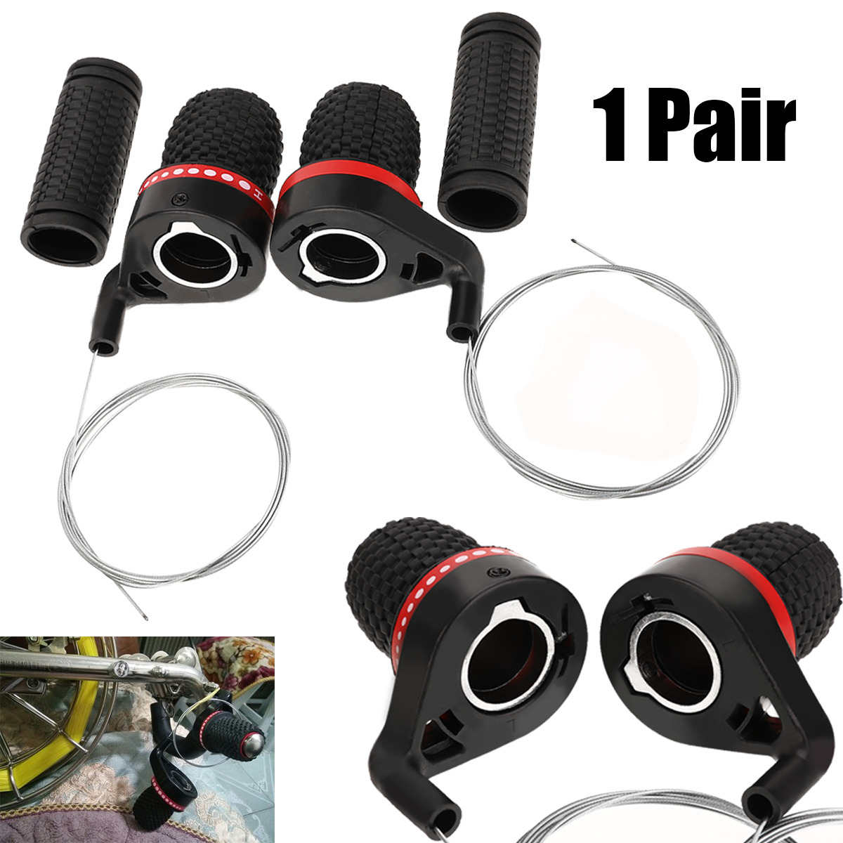 New 1 Pair Bicycle Gears Mountain Bike Bicycle Speed Twist Gear Shifter And Turning Handles Rubber Grips Cycle Bike Parts