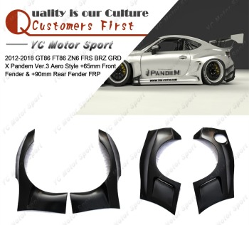 FRP Fiber Glass GRD X PD Ver.3 Aero Style +65mm Front & +90mm Rear Fender Flares Kit Fit For 2012-2018 GT86 FT86 ZN6 FRS BRZ