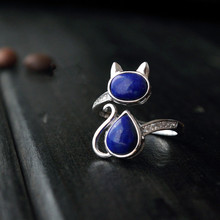 Happy National Cat Day! 925 sterling silver jewelry natural lapis lazuli cat adjustable rings for women