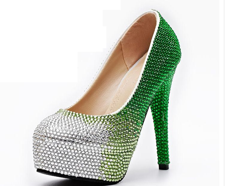 ФОТО Super extra high 11CM heel green crystal rhinestones party shoes for women TG592 slip on platforms round toe green proms shoe