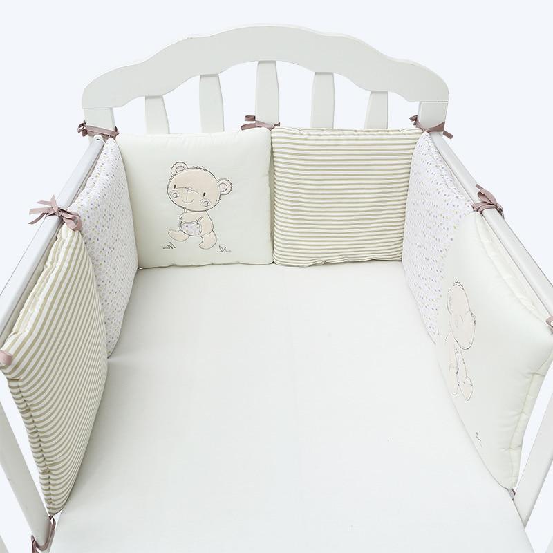 6 шт./компл. детская кроватка бампер Подушка младенцы постельные принадлежности безопасность дышащий - Цвет: light brown bear