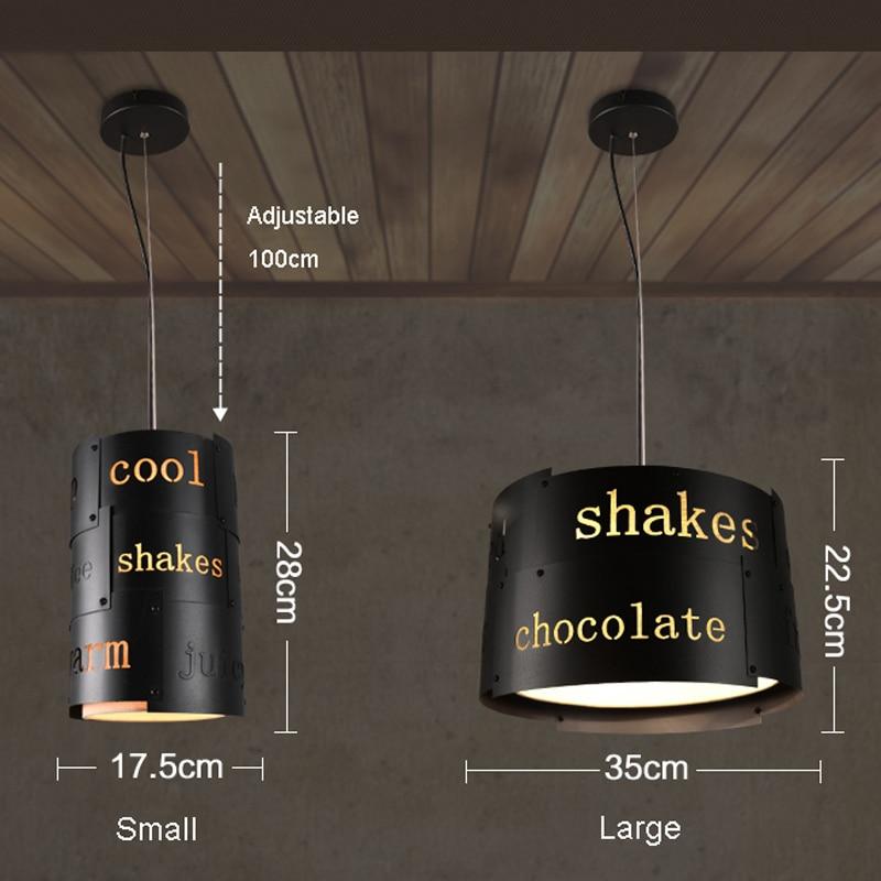 Ретро промышленный Лофт черный металлический подвесной светильник винтажный креативный английский буквенный Бар Кафе подвесной светильник освещение PL628 - 6