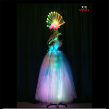 TC-174 Programmable led women dress led light costumes full color RGB dance clothes sexy bra wedding colorful wears stage skirt