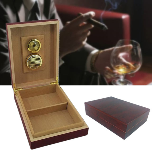 Retro Cedar Wooden Cigars Box Humidor Case Storage Lined Humidifier Hygrometer Holder Gifts Smoking Cigar Organizer