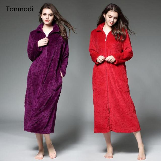 Vestes Das Mulheres térmicas de Outono e inverno em relevo zíper Camisola de ultra longo Robe de flanela