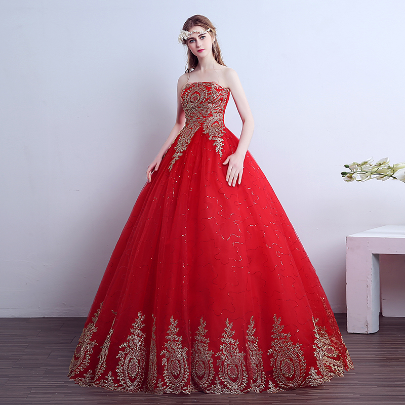 2019 New Sexy Strapless Red Wedding Dress Classic Chinese Pattern Style Lace Embroidery Plus Size Bridal Gown Robe De Mariee L