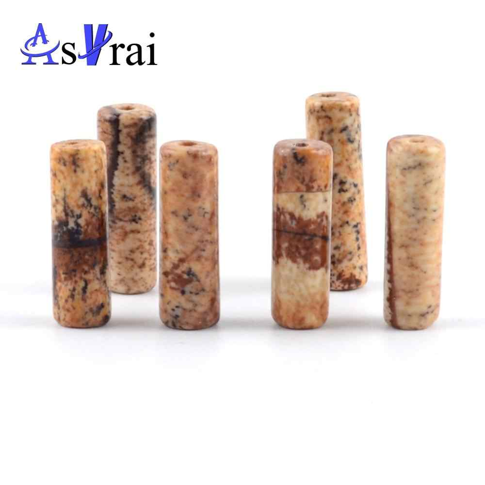 Natural Stone Beads 4*13mm Picture Jaspers Spacer Tube Beads for Jewelry Making diy Women Bracelets Accessories