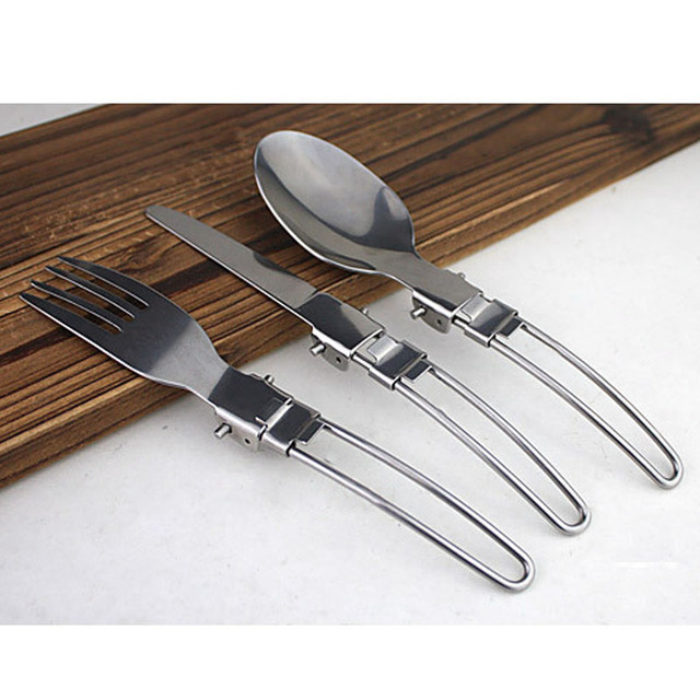 Hot sell 3 in 1 Foldable Outdoor Camping Picnic Tableware Stainless Steel Folding Food Fork and Spoon Hiking Free Shippi SS
