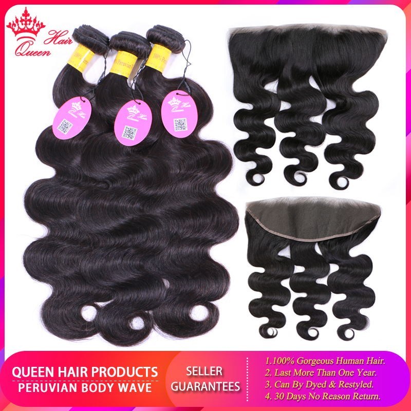 Queen Hair Peruvian Body Wave Virgin Human Hair Bundles With Lace Frontal Closure 100 Human Hair