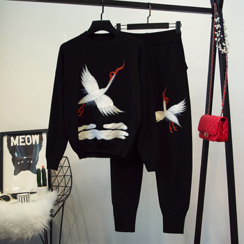 2018 Time-limited Cotton Polyester Full Tracksuits New Women's Winter Knit Sweater Feet Trousers Two-piece Clothing