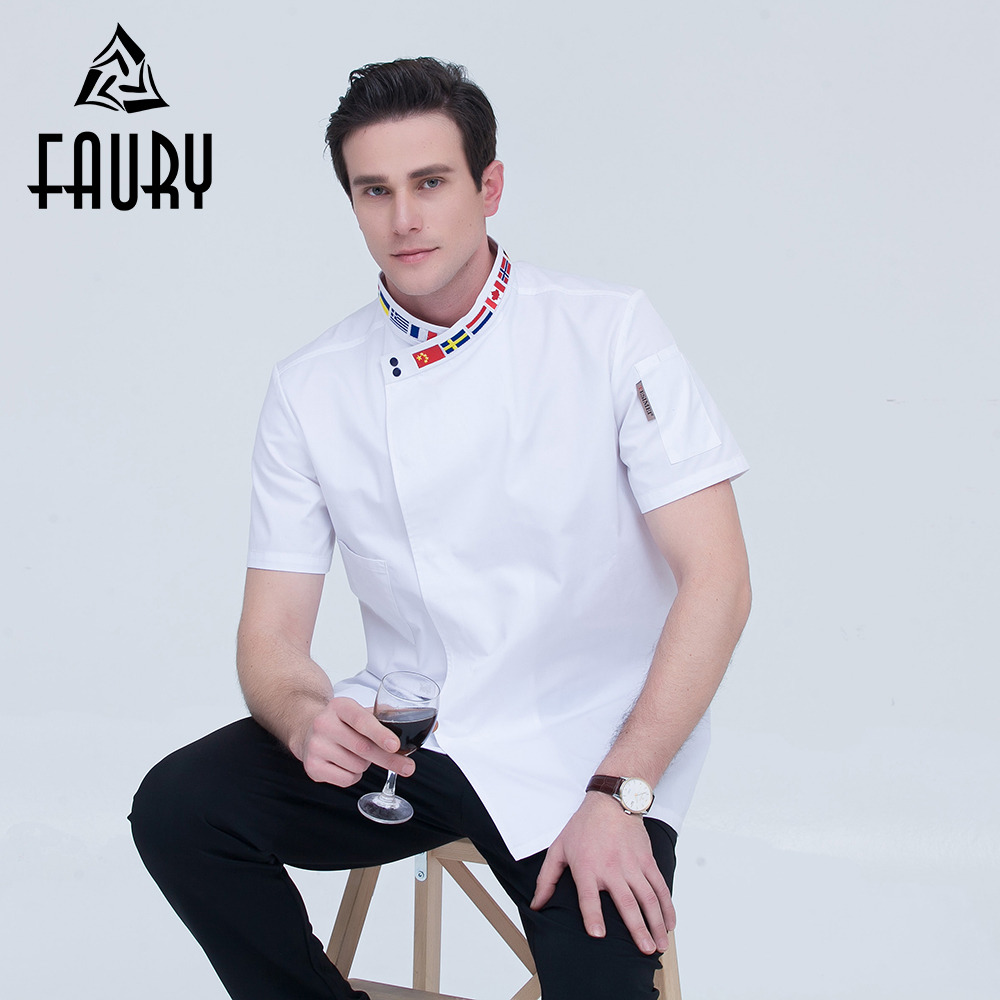 Unisex Country Flag Embroidery Collar Single Breasted Casual Short Sleeve Restaurant Catering Cafe Chef Waiter Work Uniform