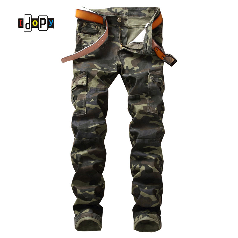 New Fashion Men's Camo Sraight Fit Jeans With Zippers Patchwork multi-Pockets Military Style jeans For Men aboorun new mens pu patchwork slim fit jeans fashion skull rivet pencil denim pants with zippers for men b052