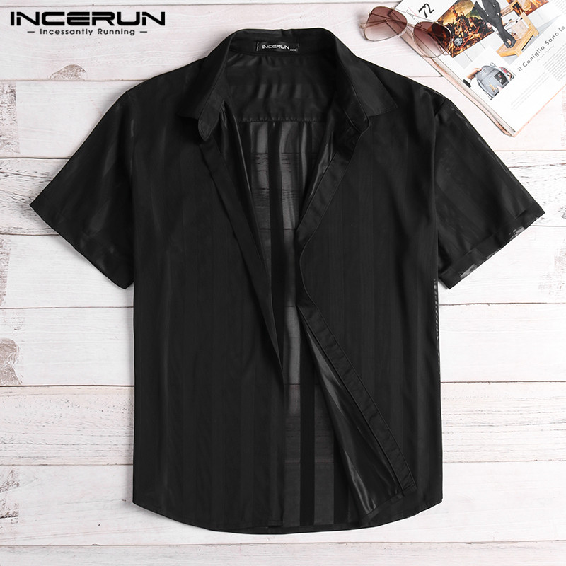 INCERUN Fashion Striped Sexy Shirt Men Short Sleeve Button Tops Streetwear Transparent Party Nightclub Men Shirts Camisa S-5XL
