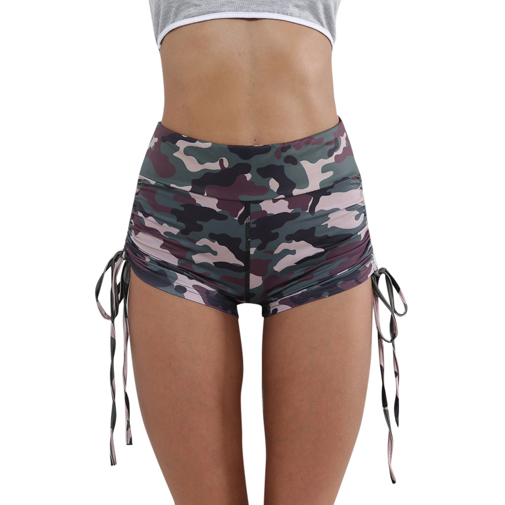 FREE OSTRICH Women's fashion half-length bow casual personality high waist elastic military wind camouflage sports tight   shorts