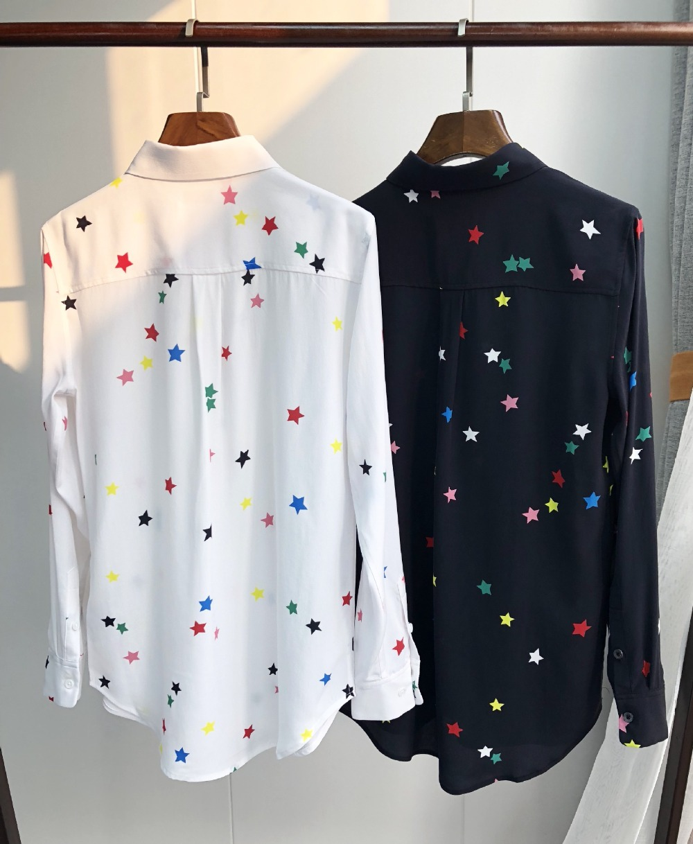 dc607c8556ff9e 100% natural silk blouse print colorful star shirt chiffon blusas women  office lady high quality runway blouse white 2019 new-in Blouses & Shirts  from ...