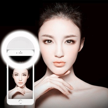 Selfie Portable Led Camera Phone Photography Ring Light Enhancing Photography for Smartphone iPhone Samsung Pink White Black