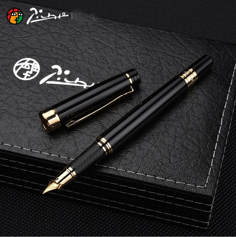 Image 4 - Pimio Picasso fountain pen picasso ps 917 gold clip silver Student teacher business Roman style gift box packaging FREE shipping-in Fountain Pens from Office & School Supplies