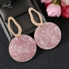 Badu Big Round Acrylic Panel Earrings for Women Korean Cute Style Bohemian Earring Acetic Acid Fashion Jewelry Gift Party