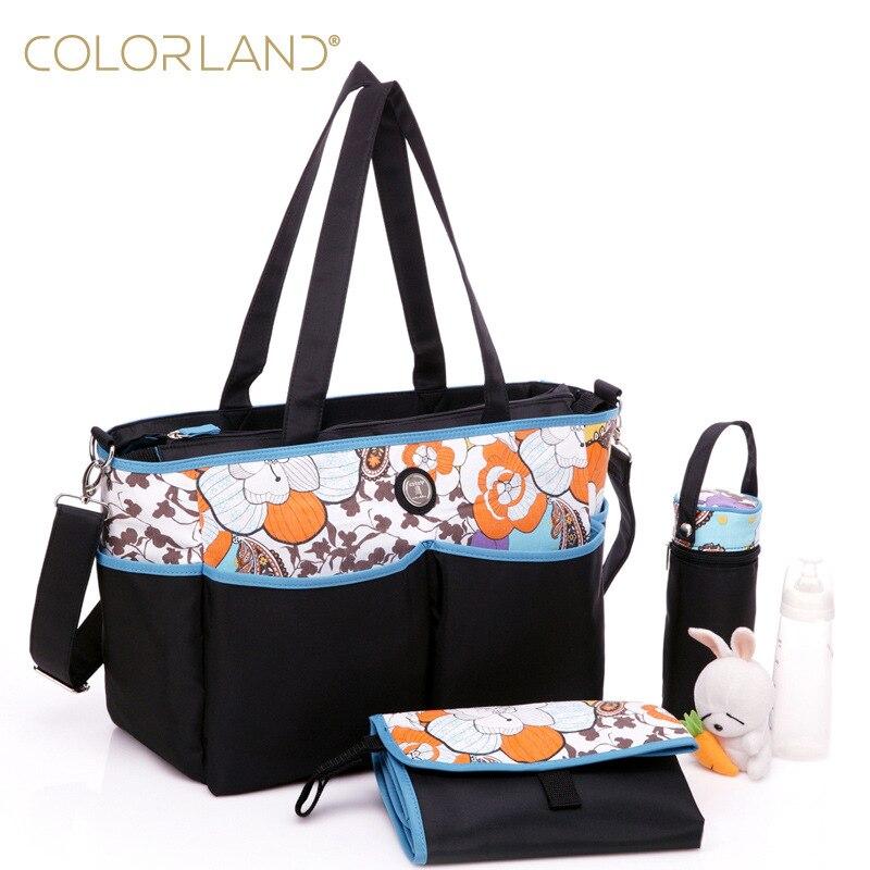 Colorland Nylon mode bébé couches sacs Nappy poussette sacs maternité maman sac multifonctionnel sacs à langer
