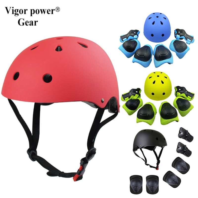 Vigor Power Gear 7 pcs Bicycle Skateboard Ice Skating Roller Protective Gear Sets Elbow pads Knee Support Kid Helmet Protector ...