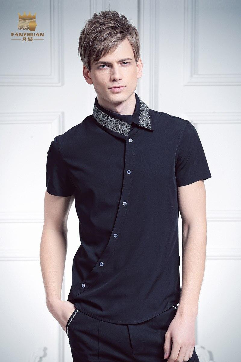 Livraison gratuite nouveau mâle mode FanZhuan hommes placket personnalité irrégulière oblique col 612066 broderie chemise à manches courtes - 6