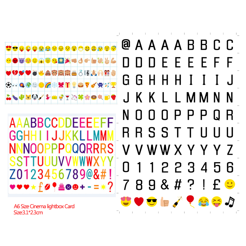 Total Link A6 Cinema Night Lightbox Card Balck Letters / Colorful Letters / Expression Card/ Symbols & Glyphs & Sign Few Choice