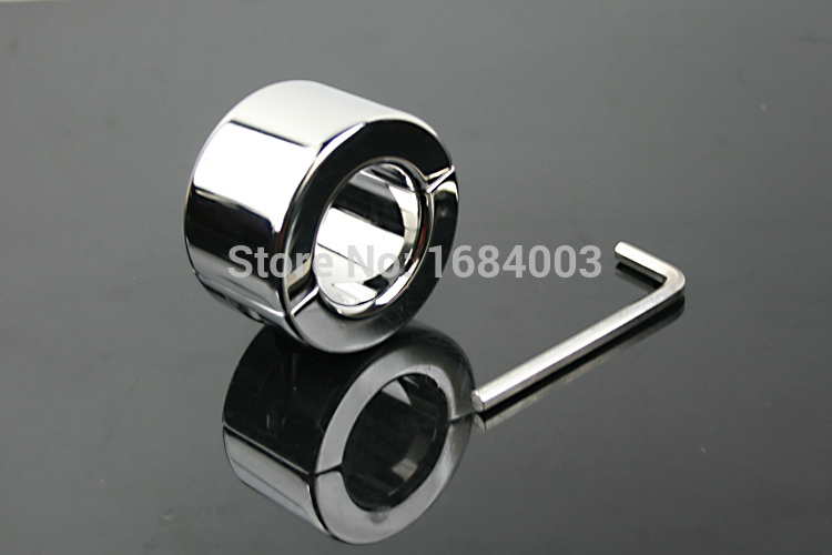 ФОТО Newest Steel Scrotum Ring Metal Locking Cock Ring CBT Ball Stretchers Perfect Scrotum Stretchers Ball Weights For Him A033