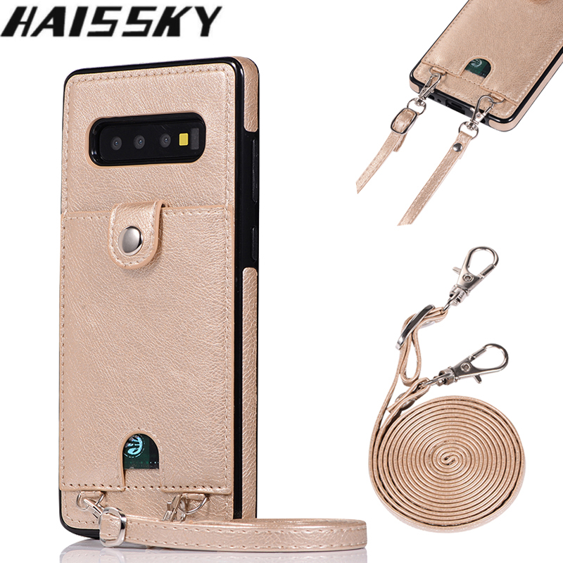 Leather Wallet Card Case For Samsung S10 S9 S8 Plus S10E S7 Edge Note 10 10+ 9 8 Cover Shoulder Bag Phone Case For Samsung Galaxy S10 Plus Note 10 Plus Case Strap