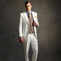 Prom Ivory Brown Suits Men For Wedding 3 Pieces(Jacket+Pants+Vest+Tie) Formal Slim Fit Blazer Masculino Custom Made 079