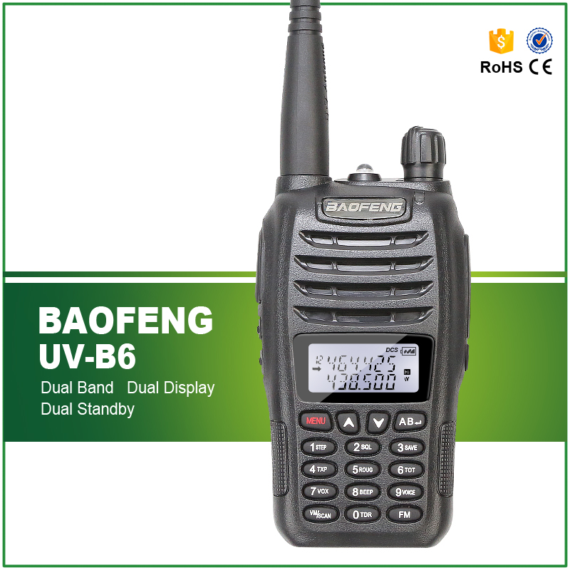 Original Baofeng UV B6 Dual Band VHF UHF 5W Wireless Ham Radio Communication Equipment with Flashlight Free Earphone