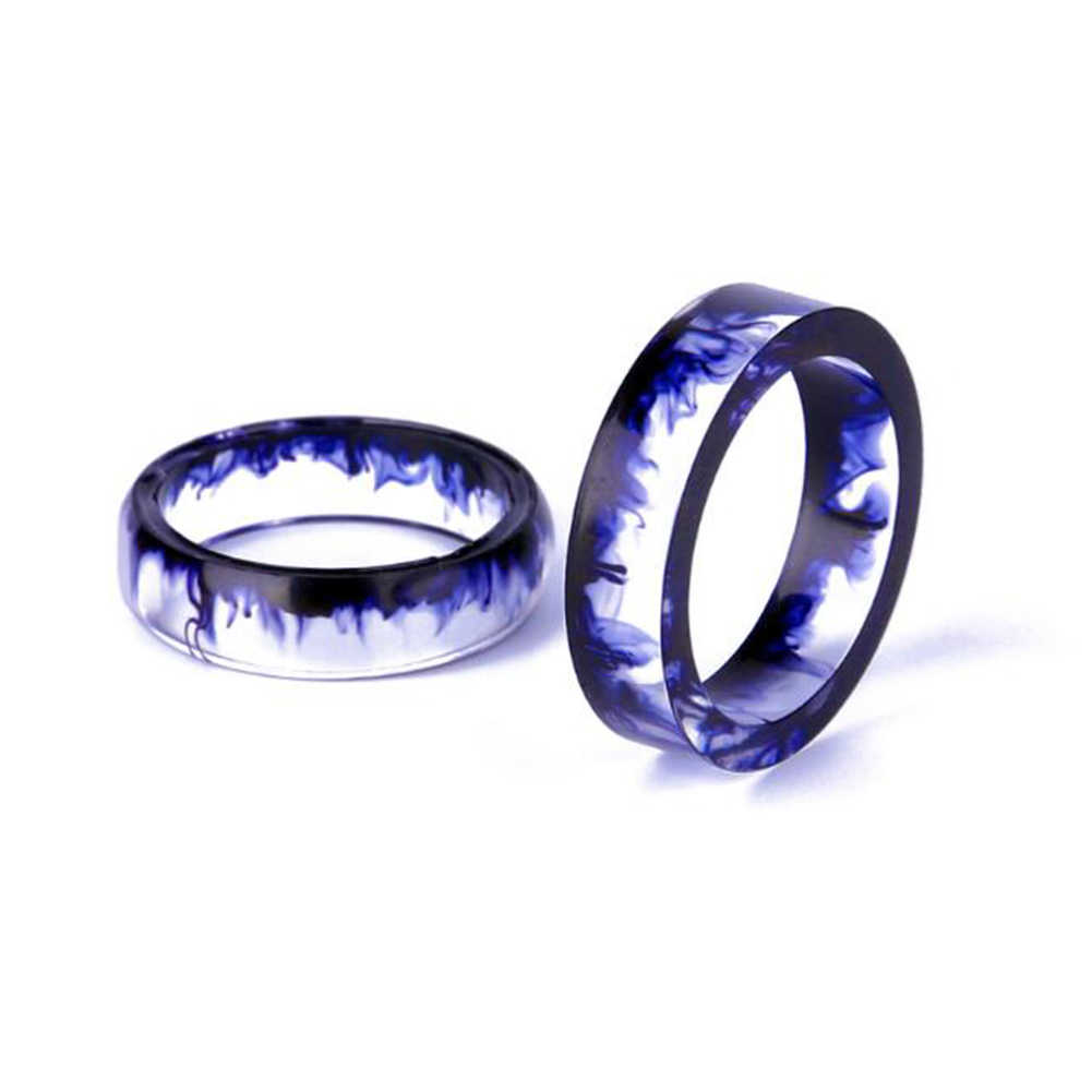 NEW Style Resin Couple Personality Tail Ring Ink Mirror 6-16MM/7-17mm/8-18MM/9-19MM/10-20MM Best Gifts Romantic Ring