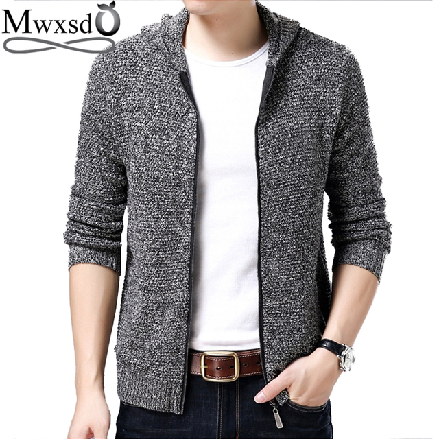 Mwxsd winter autumn men s casual wool hooded cardigan sweater men wool  cotton warm knitted jacket male e5fd082e71af