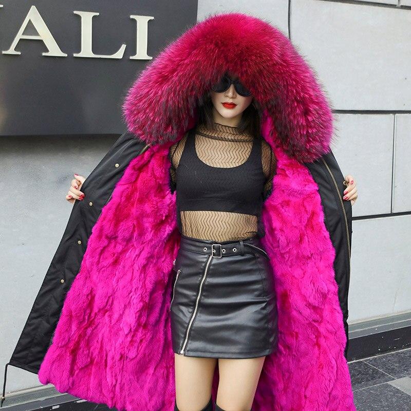 2019 inverno pele de raposa longo parkas mulheres rosa natural pele com capuz casaco coelho forro quente parkas senhoras - 2