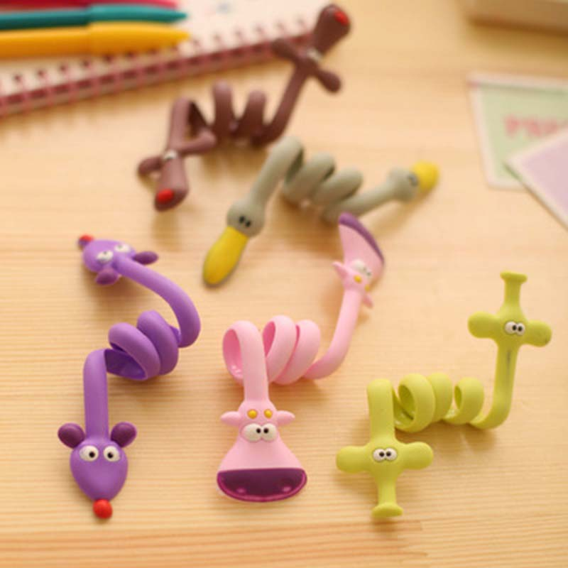 Cartoon Animal Elephant Dog Cable Winder Wire Ties Computer Earphone Cable Wire Organizer Storage Holder Winding PC Clip 1 PC