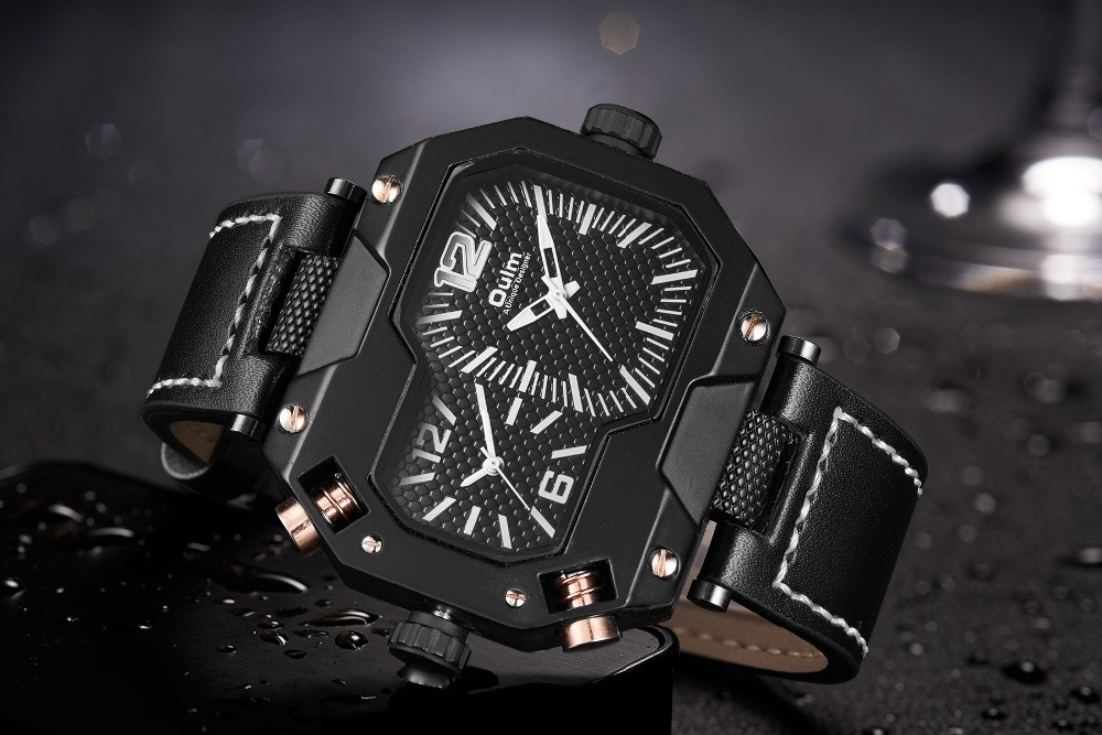 OULM Fashion Oversize Quartz Watch Men 2 Time Zone Display Unique Rectangle Dial Deisgn Leather Strap Creative Casual Wristwatch 11