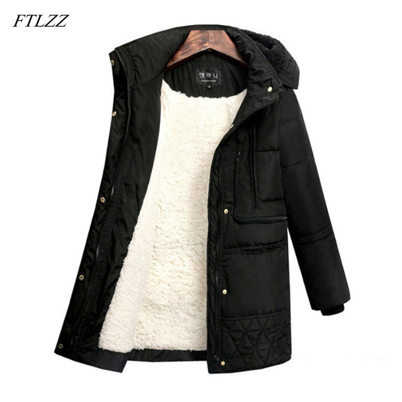 FTLZZ Winter Jackets Women's Plus Size Coat Cotton Padded Casual Slim Hooded   Parkas   Medium Long Female Warm Snow Outerwear