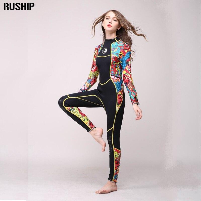Высокое качество 2,5 мм женщин неопреновый гидрокостюм цвет сшивание Surf Дайвинг оборудования медузы одежда с длинными рукавами Комплект оде...