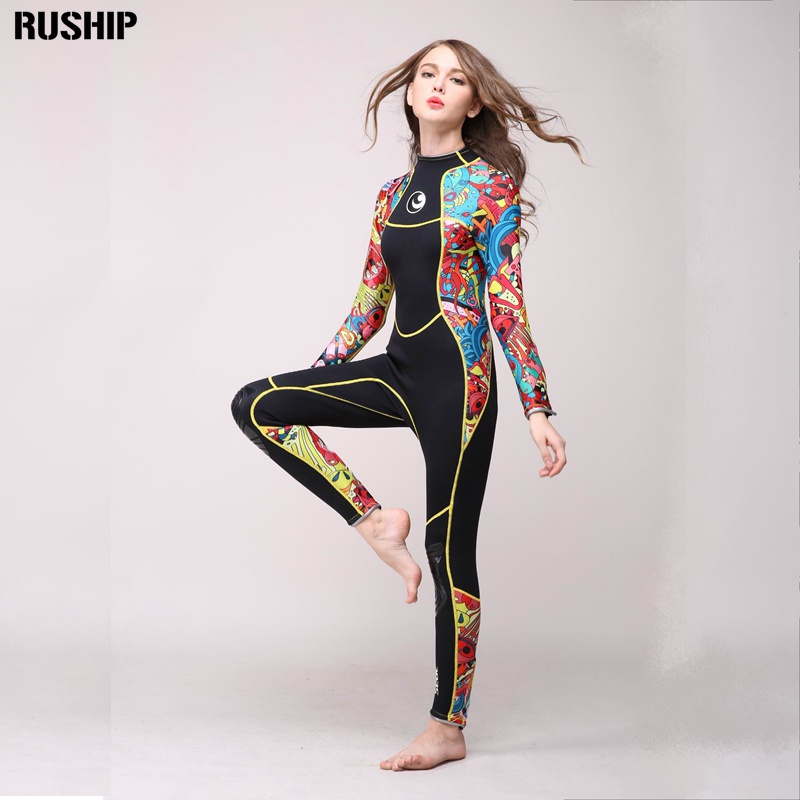 SEAC High quality 3mm women neoprene wetsuit color stitching Surf Diving Equipment Jellyfish clothing long-sleeved piece fitted seac sub asso 50