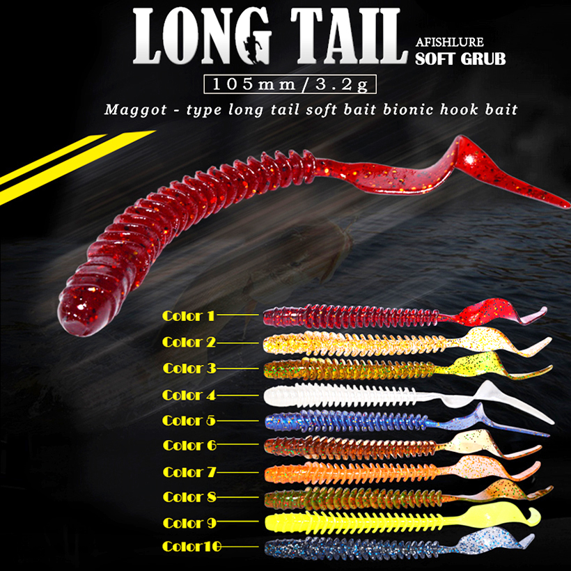 8pcs/lot Long Tail Grubs 3.2g 105mm Curly Tail Soft Lure Long Curly Tail Fishing Lure Artificial Bait Soft Fishing Lure Worm