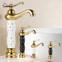 Gold Sink Basin Faucets Mixer Tap solid brass Deck Mounted Crystal gold kitchen Mixer